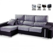 Sofá Chaiselongue Deslizante y Reclinable Arcón 2 puff
