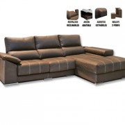 Sofá Chaiselongue con Puff Deslizante y Reclinable Serie Bronce