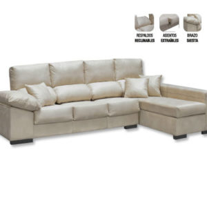 Sofá Chaiselongue Deslizante y Reclinable Serie Bronce