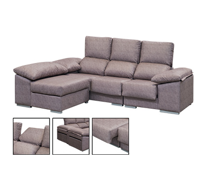 Chaiselongue Reversible Reclinable Extraible - Grupohogar on chaise furniture, chaise sofa sleeper, chaise recliner chair,